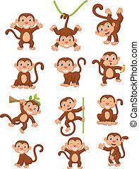 macaco, feliz, jogo, cobrança, caricatura