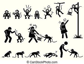 macaco, figura, pictograma, vara, human, cliparts.