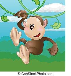 macaco, ilustração, cute