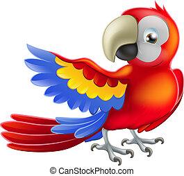 macaw, papagaio, ilustração, vermelho