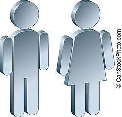 macho, 3d, femininas, metálico