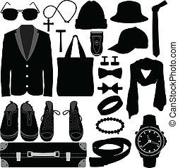 macho, acessórios roupa, homem, desgaste