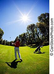 macho, camisa, jovem, branca, golfer, vermelho