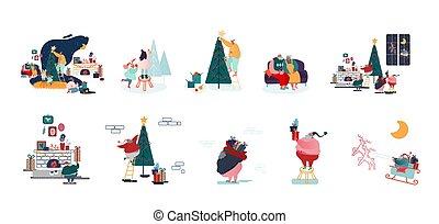 macho, caráteres, preparar, decorar, natal, feriados, feliz, celebração, ano, árvore abeto, femininas, jogo, família, novo
