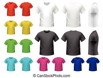 macho, coloridos, camisetas