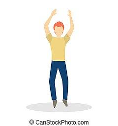 macho, dançar., dança, personagem, homem, fazer, feliz, movimento