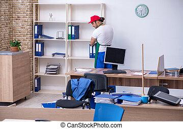 macho, escritório, contratante, jovem, limpeza