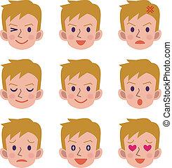 macho, expressão, facial