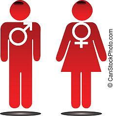 macho, femininas, sinais