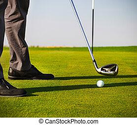 macho, golfe, foco, bola, golfer, pôr
