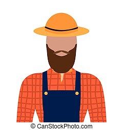 macho, isolado, agricultor