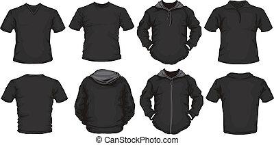 macho, pretas, camisas, modelo