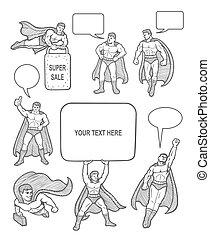macho, superhero, esboços