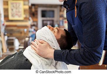macho, toalha, abrandamento, rosto, quentes, barbeiro, sking
