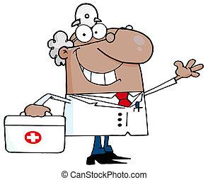 macho, waving, doutor, hispânico