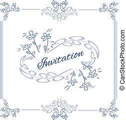 macio, simplesmente, quadro, violeta, decoração, convite
