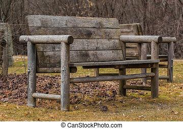 madeira, banco parque