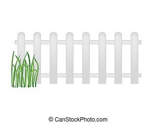madeira, branca, capim, verde, cerca