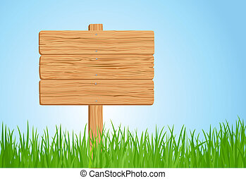 madeira, capim, ilustração, sinal