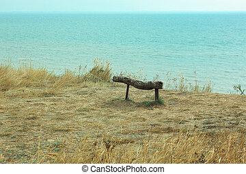 madeira, coast., vista, penhasco, acima, vazio, waves., mar, banco, bonito