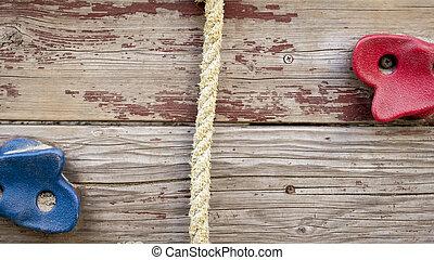 madeira, imagem, pedras, corda, parede, closeup, pátio recreio, escalando, crianças