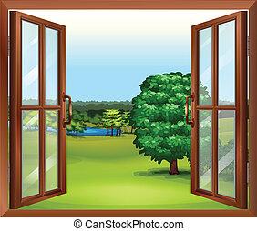 madeira, janela, abertos