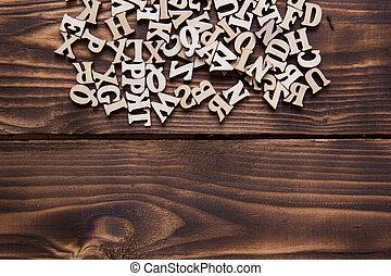 madeira, jogos, conceito, educação, alfabeto, experiência., inglês, escuro, letras, palavra, espaço, needlework., texto