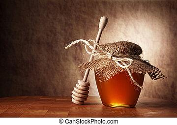 madeira, mel, pote, tabela., vara