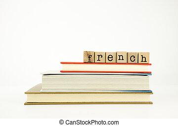 madeira, palavra, língua, francês, selos, livros
