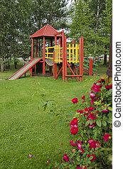 madeira, parque, crianças, pátio recreio