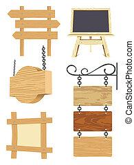 madeira, signboard, cobrança, em branco