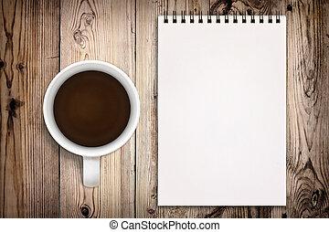madeira, sketchbook, café, fundo, copo