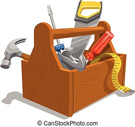 madeira, toolbox, tools., vetorial
