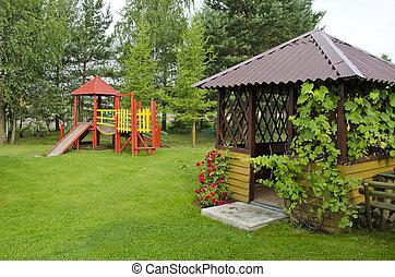 madeira, verão, crianças, parque, pátio recreio