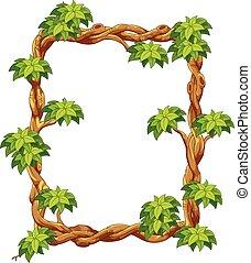 madeira, verde, quadro, folha, cartoo