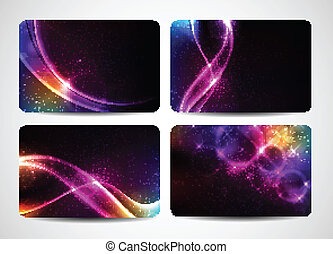 magia, coloridos, negócio, luz, cores, luminoso, cartões