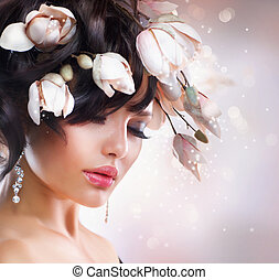 magnolia., penteado, moda, morena, menina