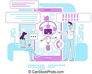 magra, teia, caráteres, falando, illustration., 2d, social, bot, caricatura, idéia, app, application., conceito, chatbot, redes, linha, apoio, criativo, design., vetorial, comunicação, pessoas, serviço, online