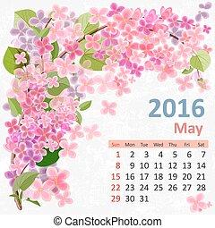 maio, calendário, 2016
