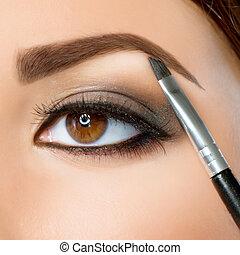 makeup., olhos, sobrancelha, marrom, make-up.