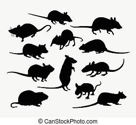 mamífero, rato, silueta, animal, rato