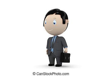 manager., social, caráteres, 3d