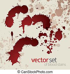 manchas, 2, jogo, sangue, splattered