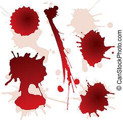 manchas, jogo, splattered, sangue