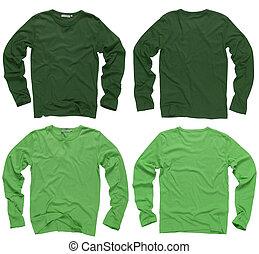 manga, em branco, camisas, longo, verde
