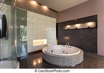 mansão, luxo, redondo, banho
