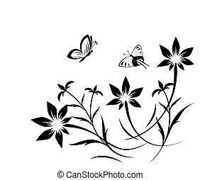 manteiga, padrão, abstratos, flor
