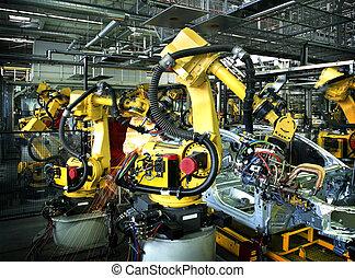 manufactory, car, soldadura, robôs