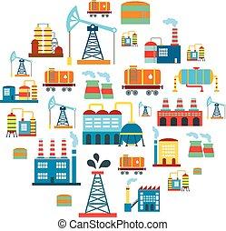 manufactory, vetorial, edifícios, fundo, tecnologia, fábrica, producao, apartamento, indústria