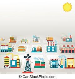 manufactory, vetorial, edifícios, fundo, tecnologia, fábrica, producao, ilustração, apartamento, indústria